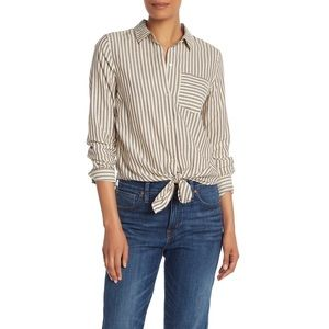 Madewell Striped Tie Front Long Sleeve Shirt